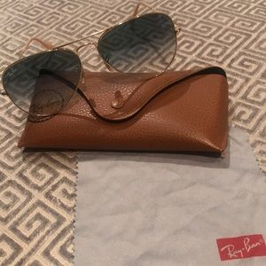 Ray Ban aviator gold w/ light blue gradient lenses